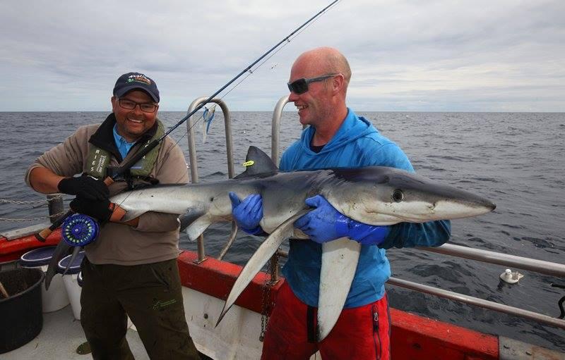 Markus con un squalo blu